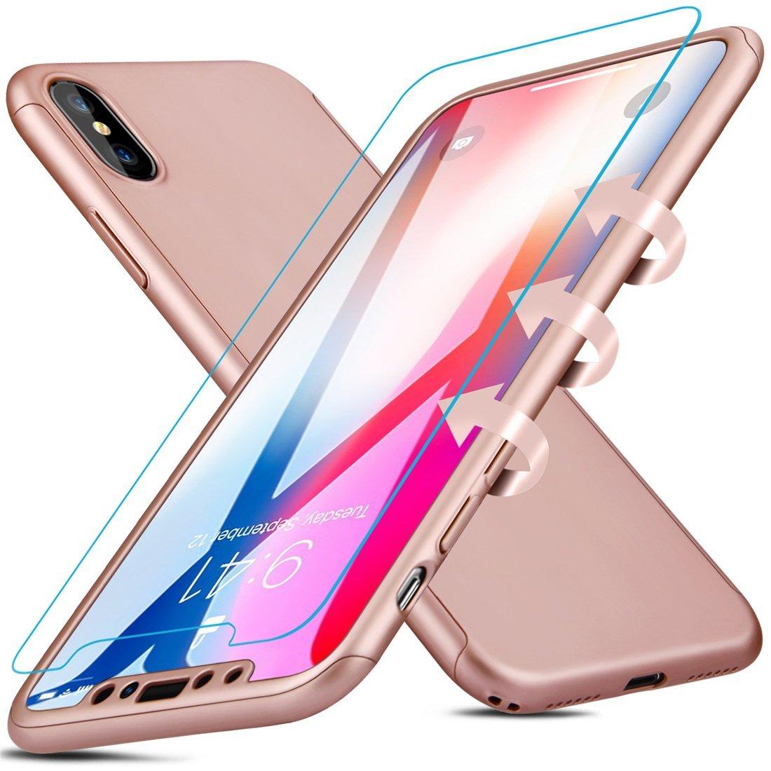 Coque Iphone X intégrale 360° rose + film en verre trempé