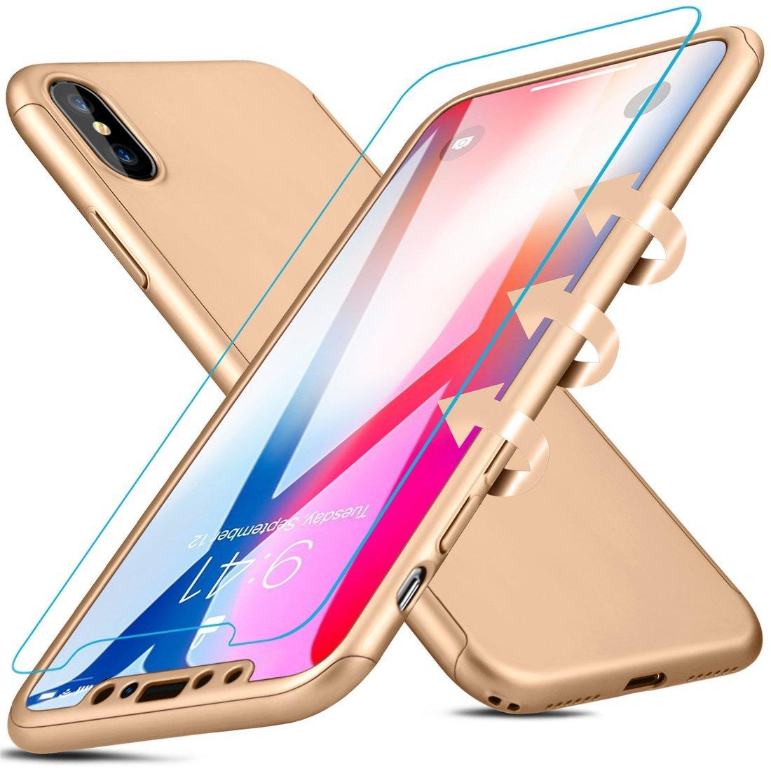 Coque Iphone X intégrale 360° or + film en verre trempé