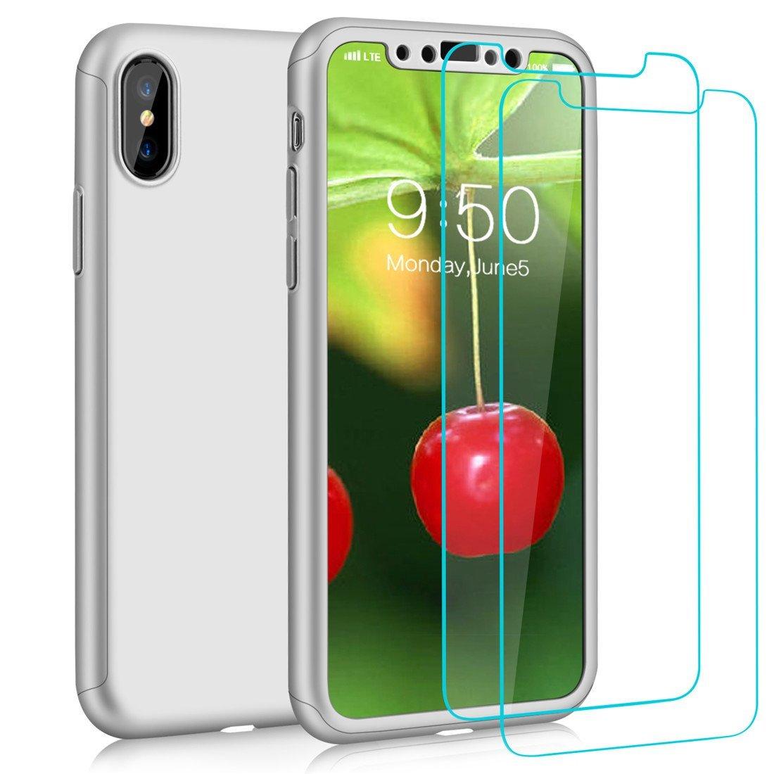 Coque Iphone X intégrale 360° argent + film en verre trempé
