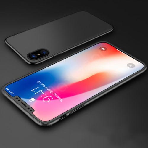 Coque Iphone X intégrale 360° noire + film en verre trempé Etui Housse