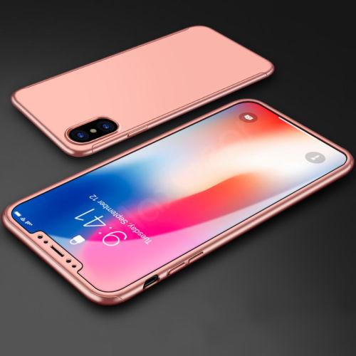 Coque Iphone X intégrale 360° rose + film en verre trempé Etui Housse