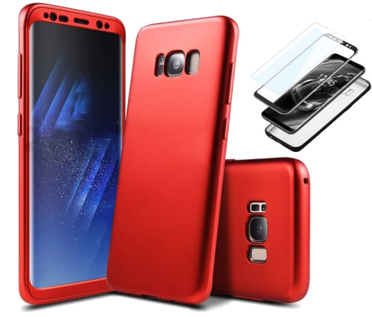 Coque Integrale 360 Samsung Note 8 Rouge + Film de Protection Ecran ETUI HOUSSE