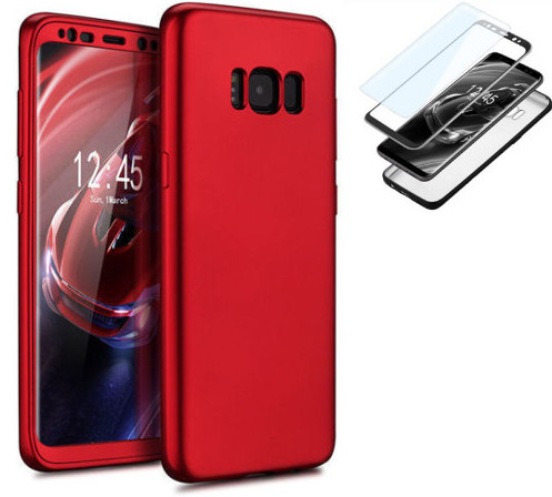Coque 360° Full Protection Galaxy S8 Rouge et film de protection Etui Housse