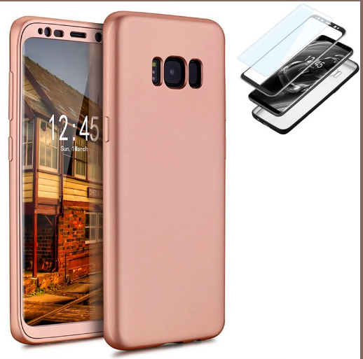 Coque 360° Full Protection Galaxy S8 Rose et film de protection Etui Housse