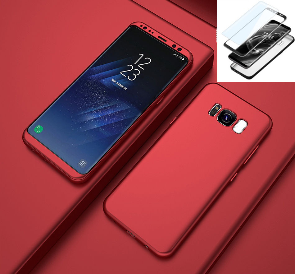 Samsung Galaxy S9 Coque - Antichoc Coque Samsung Galaxy S9 Full Protection Intégrale 360° Rouge