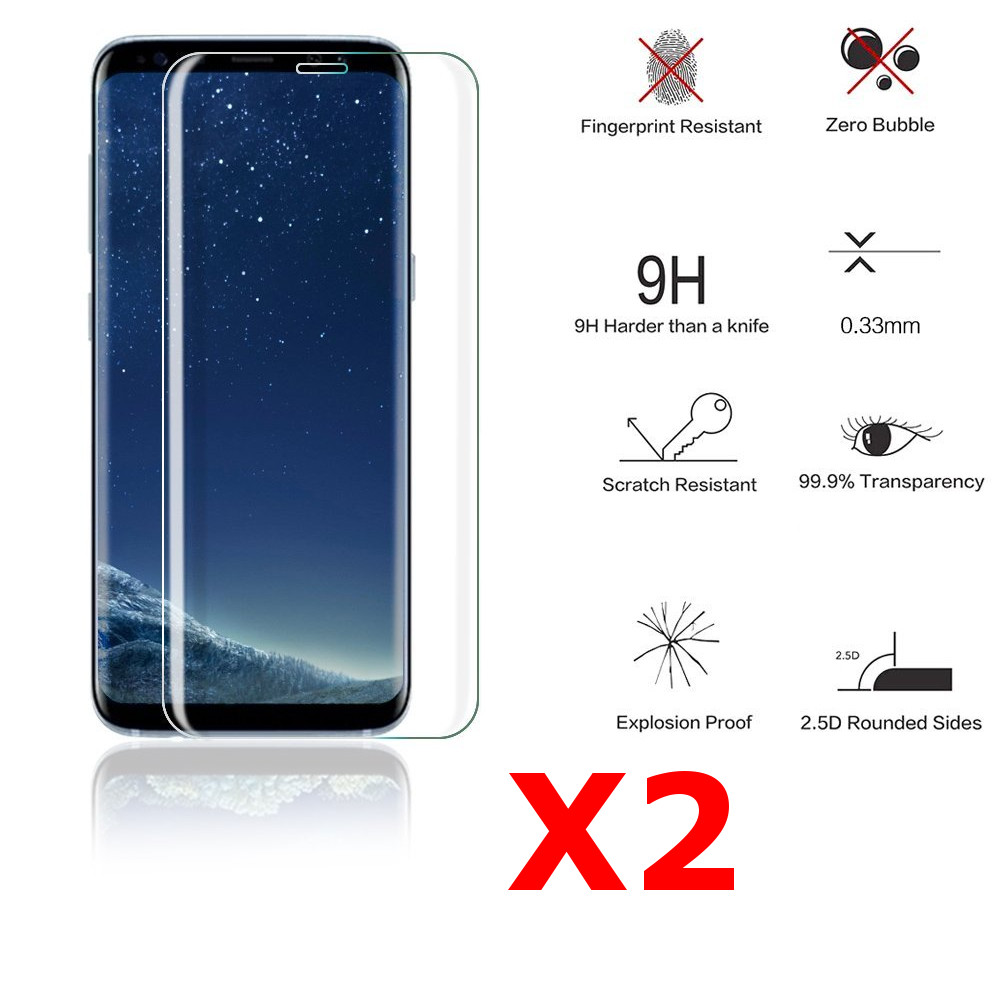 X2 Protection écran Curve pour Samsung Galaxy S8 Plus , Verre Trempé Incurvé Ultra Clair et Résistant Film Protecteur D\'écran en Verre Tempéré, Haute Transparence et Ultra Slim Dureté 9H X2