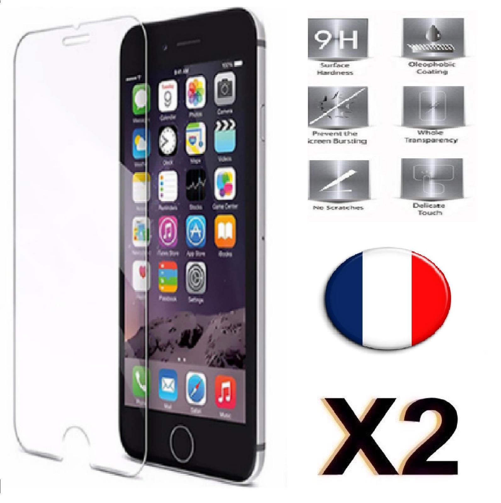 X2 Verre Trempé iPhone 6 / 6S Film Protection en Verre trempé écran Protecteur Vitre Dureté 9H 0.25mm HD Ultra Transparent X2