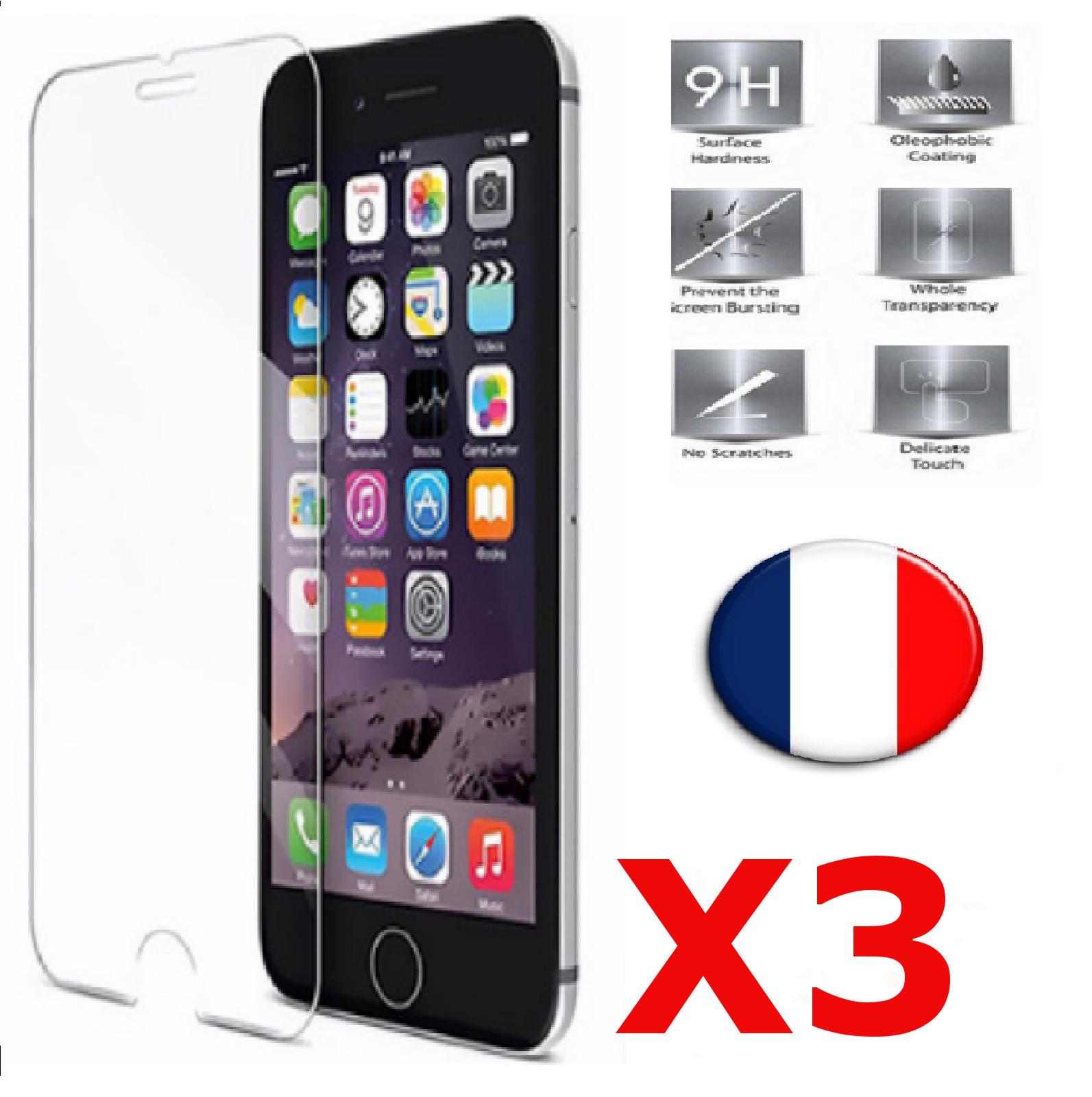X3 Verre Trempé iPhone 6 / 6S Film Protection en Verre trempé écran Protecteur Vitre Dureté 9H 0.25mm HD Ultra Transparent X3