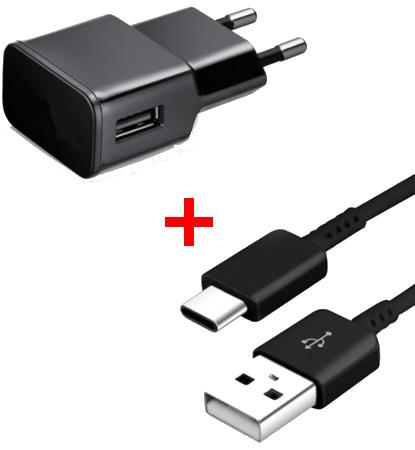 Chargeur secteur/USB + Câble USB/ Type C Noir pour Samsung A40 / A50 / A70 / A80 / A90
