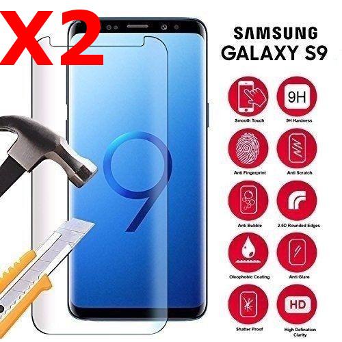 X2 Vitre de Protection pour Samsung Galaxy S9 Plus Ecran film Verre Trempé incurvé Haute Résistance Anti Choc X2