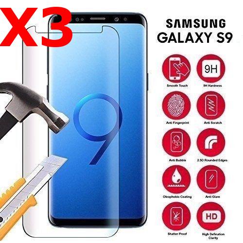 X3 Vitre de Protection pour Samsung Galaxy S9 Plus Ecran film Verre Trempé incurvé Haute Résistance Anti Choc X3