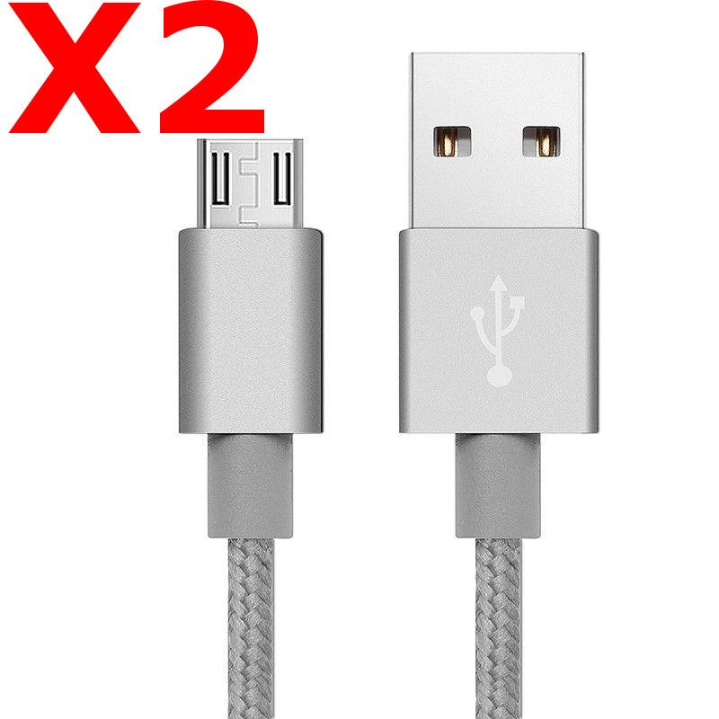 X5 Câble Metal Nylon Renforcé Chargeur USB/Micro USB 1,5m Tréssé Couleur Argent Compatible Samsung LG Sony Wiko Blackberry Motorola Asus Huawei Honor Archos TEENO X5 Little Boutik®