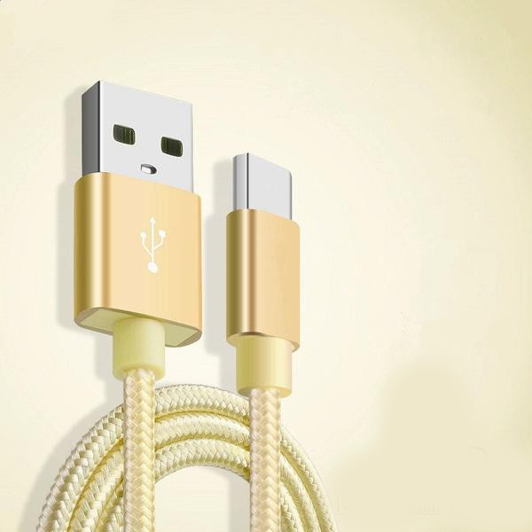 Câble Metal Nylon Renforcé Chargeur USB/Type C 1,5m Tréssé Couleur Or Compatible Samsung LG Sony Wiko Blackberry Motorola Asus Huawei Honor Archos TEENO Little Boutik®