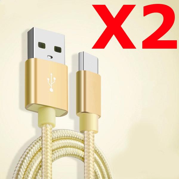X2 Câble Metal Nylon Renforcé Chargeur USB/Type C 1,5m Tréssé Couleur Or Compatible Samsung LG Sony Wiko Blackberry Motorola Asus Huawei Honor Archos TEENO X2