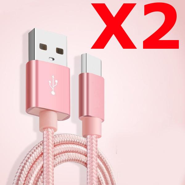 X2 Câble Metal Nylon Renforcé Chargeur USB/Type C 1,5m Tréssé Couleur Rose Compatible Samsung LG Sony Wiko Blackberry Motorola Asus Huawei Honor Archos TEENO X2