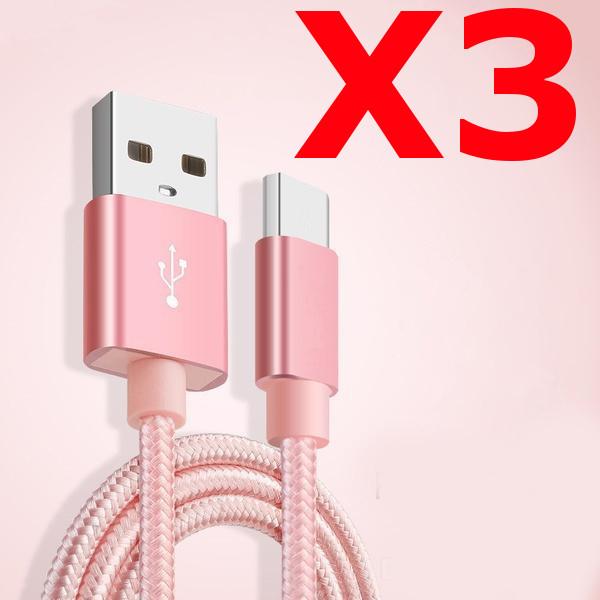 X3 Câble Metal Nylon Renforcé Chargeur USB/Type C 1,5m Tréssé Couleur Rose Compatible Samsung LG Sony Wiko Blackberry Motorola Asus Huawei Honor Archos TEENO X3