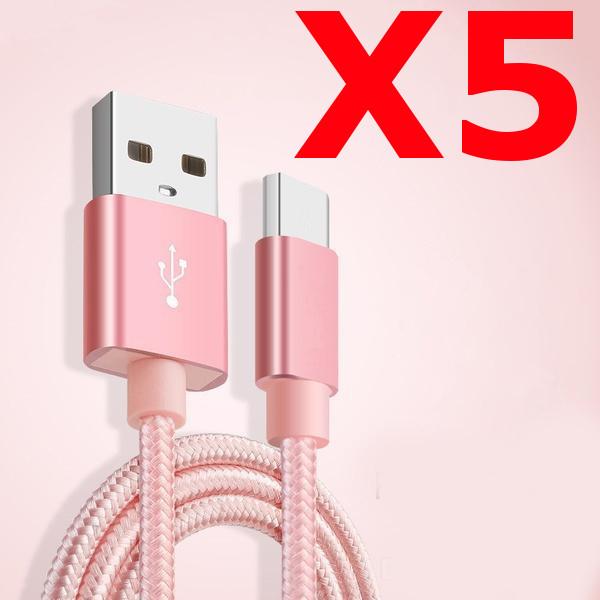 X5 Câble Metal Nylon Renforcé Chargeur USB/Type C 1,5m Tréssé Couleur Rose Compatible Samsung LG Sony Wiko Blackberry Motorola Asus Huawei Honor Archos TEENOX5 Little Boutik®