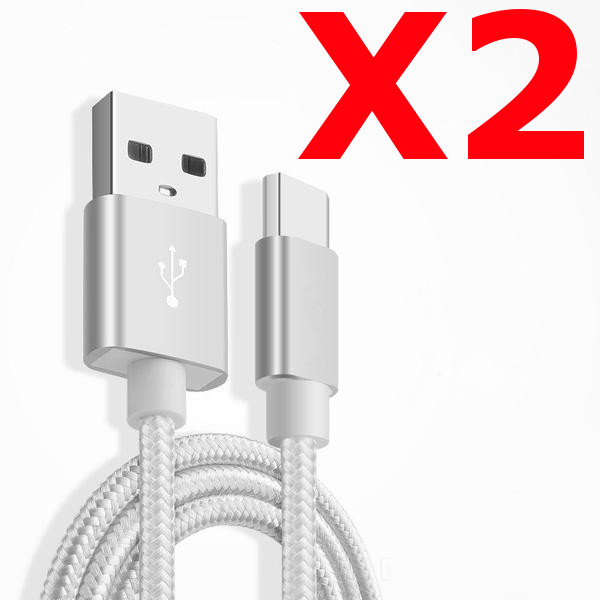 X2 Câble Metal Nylon Renforcé Chargeur USB/Type C 1,5m Tréssé Couleur Argent Compatible Samsung LG Sony Wiko Blackberry Motorola Asus Huawei Honor Archos TEENO X2