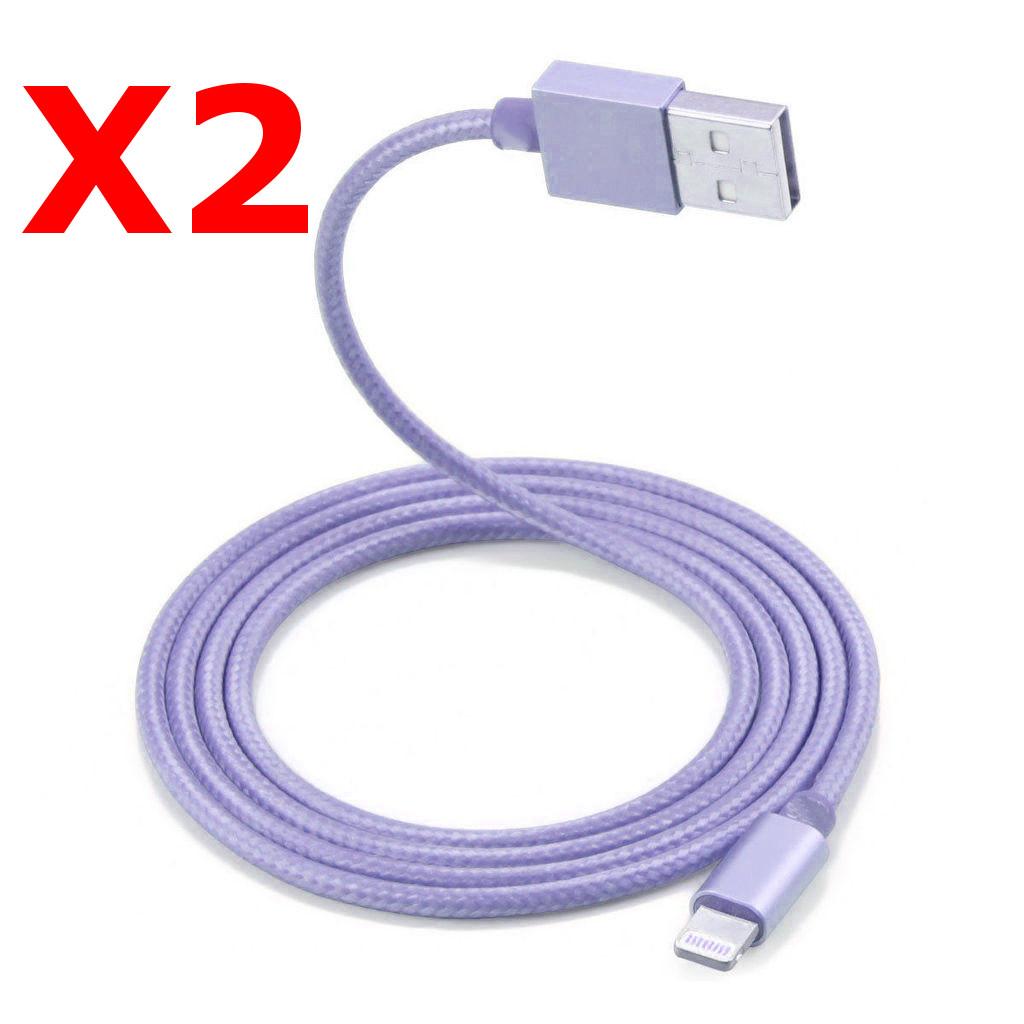 2 Câble Metal Nylon Renforcé Chargeur USB Couleur Argent pour IPhone 1,5m Tréssé Compatible IPhone 5s/6/6S/7/8/X X2