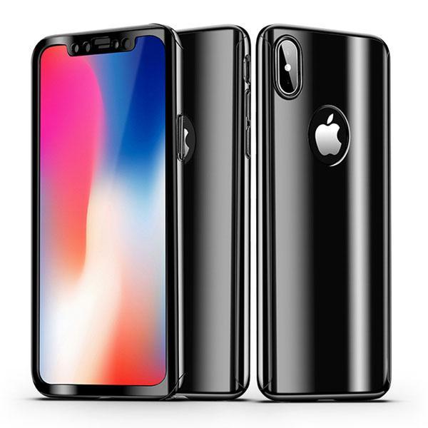 Coque Full 360 Hybride Effet Miroir Noir + Vitre Verre Trempé pour Apple iPhone X ( iPhone 10 )