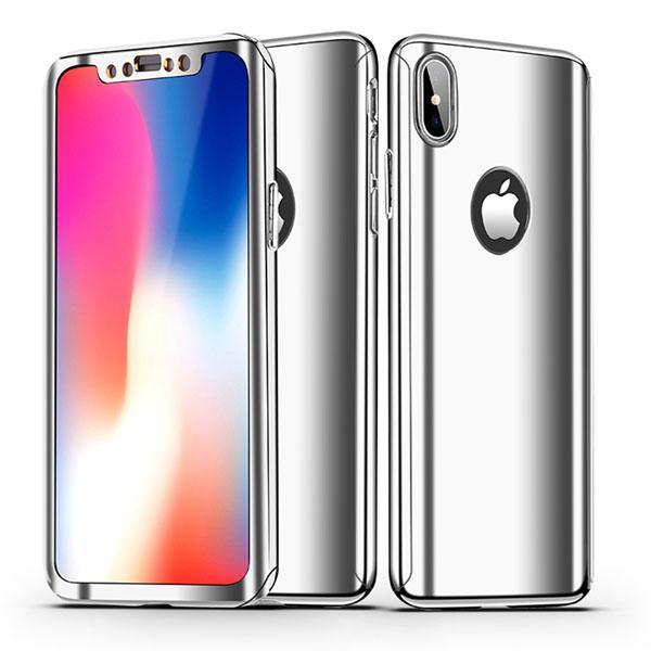Coque Full 360 Hybride Effet Miroir Argent + Vitre Verre Trempé pour Apple iPhone X ( iPhone 10 )
