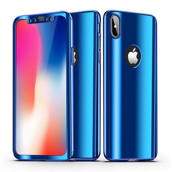 Coque Full 360 Hybride Effet Miroir Bleu + Vitre Verre Trempé pour Apple iPhone X ( iPhone 10 )