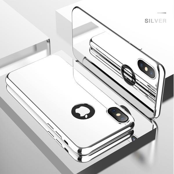 Coque Intégrale pour Apple iPhone 7 Miroir Argent + Vitre Verre Trempé Anti chocs et Rayures