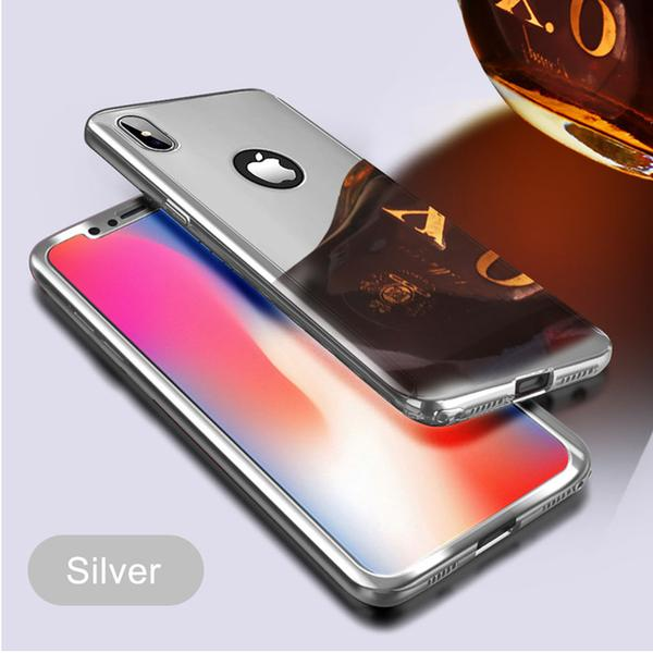 Coque Protection Intégrale Pour Iphone 7 Miroir Couleur Argent + Vitre de Protection Full Protect 360 Case Glass