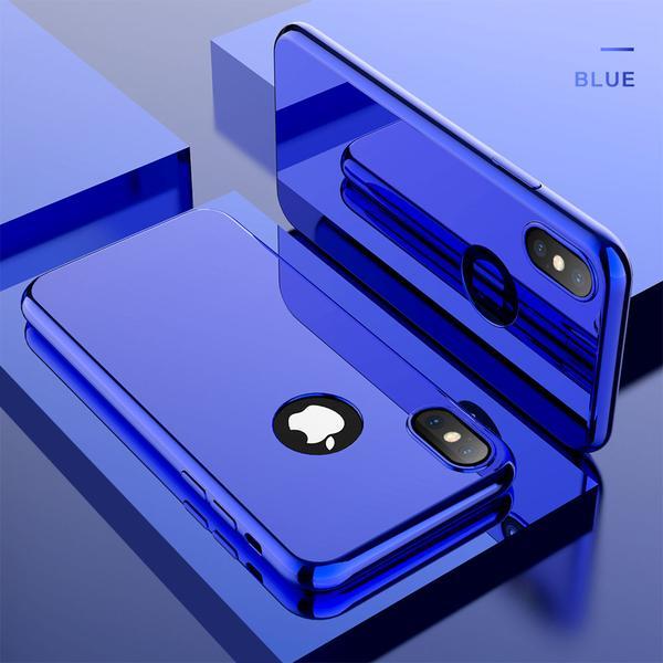 Coque Intégrale pour Apple iPhone 7 Miroir Bleu + Vitre Verre Trempé Anti chocs et Rayures
