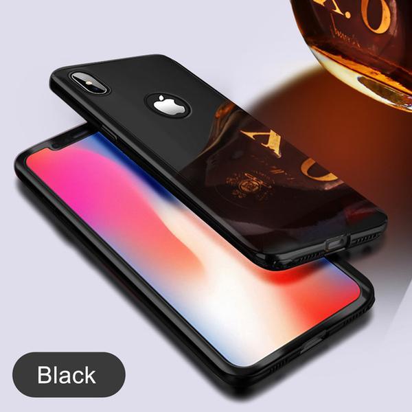 Coque Protection Intégrale Pour Iphone 7 Miroir Couleur Noire + Vitre de Protection Full Protect 360 Case Glass