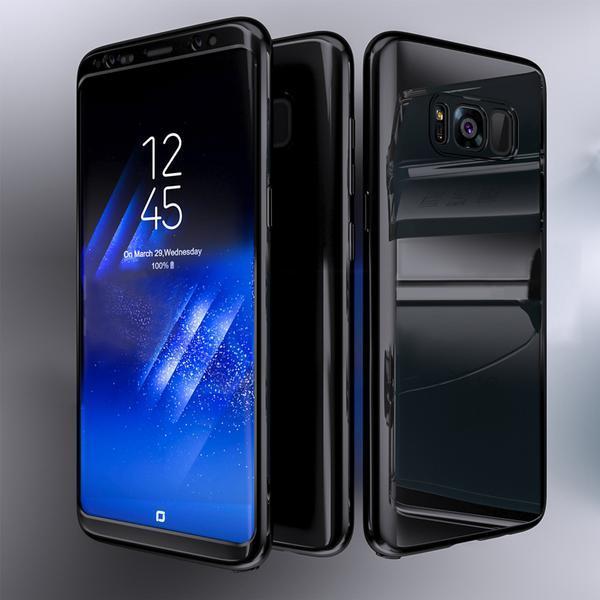 Coque Full 360 Hybride Effet Miroir Noir + Film de Protection Pour Samsung Galaxy S10