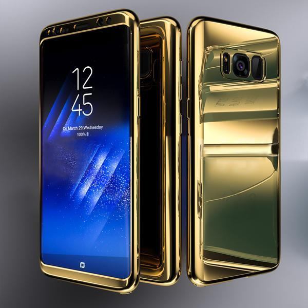 Coque Full 360 Hybride Effet Miroir Or + Film de Protection Pour Samsung Galaxy S10