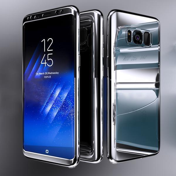 Coque Full 360 Hybride Effet Miroir Argent + Film de Protection Pour Samsung Galaxy S7 Edge