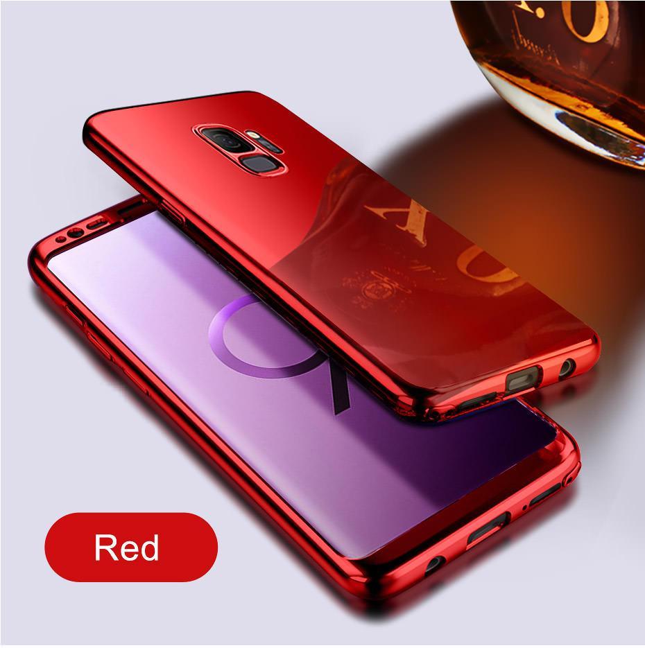 Coque Full 360 Hybride Effet Miroir Rouge Film de Protection Pour Samsung Galaxy S8