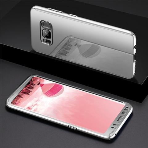 Coque Argent Pour Samsung Galaxy S10 Protection Intégrale 360 Miroir + Film de Protection  Little Boutik®