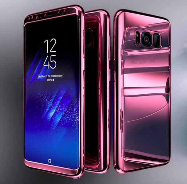 Coque Full 360 Hybride Effet Miroir Violet + Film de Protection Pour Samsung Galaxy S10e