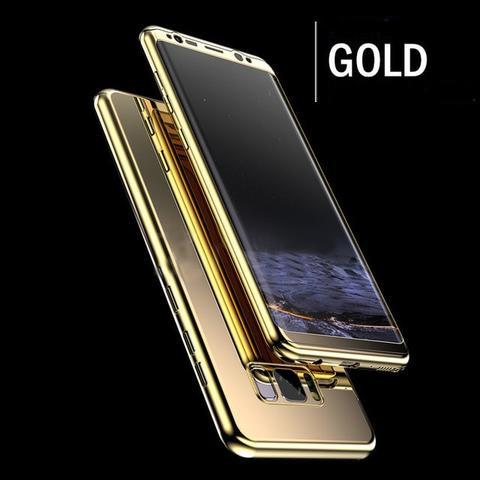 Coque Protection Intégrale Pour Samsung Galaxy S9 Plus Miroir Couleur Or + Film de Protection Full Protect 360 Case