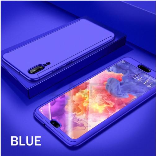 Coque Full 360 Hybride Bleu + Verre Trempé pour Huawei P20 Lite