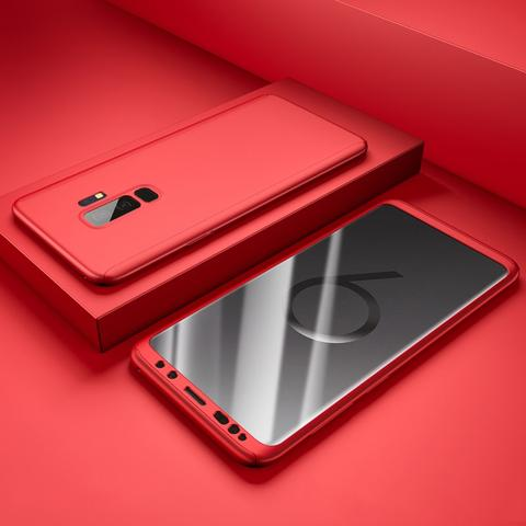 Coque Full 360 Hybride Rouge + Film de Protection pour Samsung Galaxy S9
