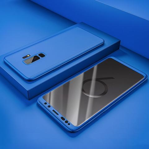 Coque Full 360 Hybride Bleue + Film de Protection pour Samsung Galaxy S9