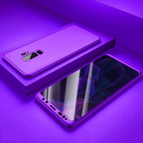 Coque Full 360 Hybride Fushia + Film de Protection pour Samsung Galaxy S9