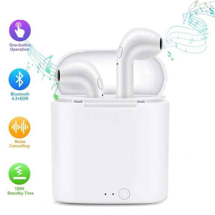 Casque Bluetooth Stéréo Écouteurs sans Fil avec étui de Charge avec Micro, Mains Libres pour iPhone X 8 8plus 7 7plus 6S Android Samsung iOS Smartphones