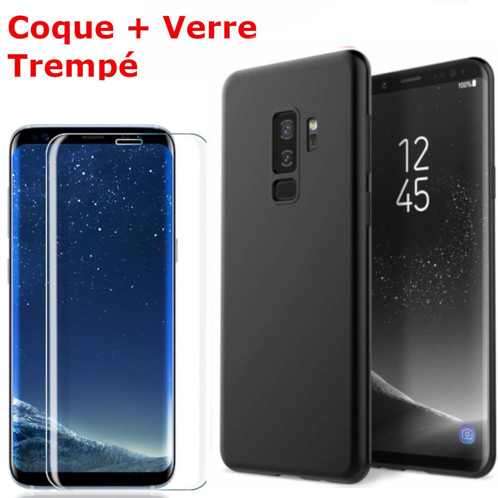 Coque Souple Silicone Pour Samsung Galaxy S9 Plus Noir + Verre Trempé Anti chocs et Rayures Vitre de Protection