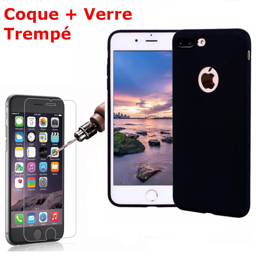 Coque Silicone pour iPhone 7 /8 Noir Antichoc + 2 Verres Trempes Little Boutik®