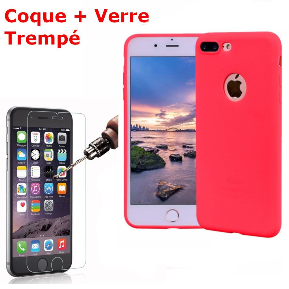 Coque Silicone pour iPhone 7Plus /8Plus Rouge Antichoc + 2 Verres Trempes Little Boutik®