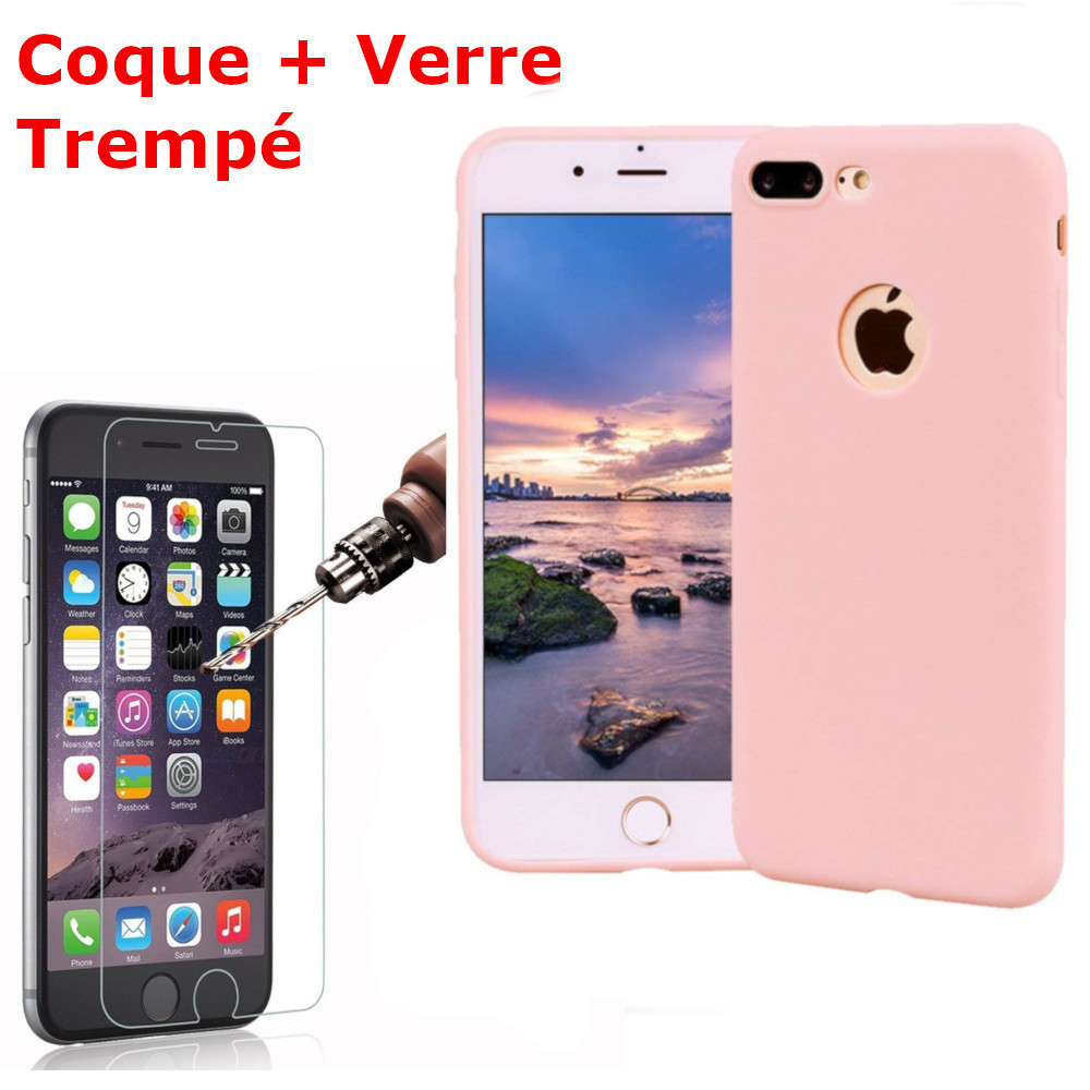 Coque Silicone pour iPhone 7 /8 Rose Antichoc + 2 Verres Trempes Little Boutik®