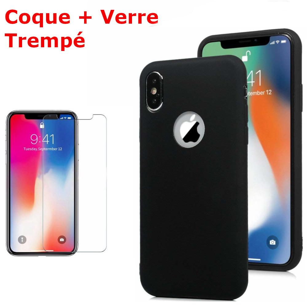 Coque Souple Silicone Pour iPhone XR Noir + Verre Trempé Anti chocs et Rayures Vitre de Protection