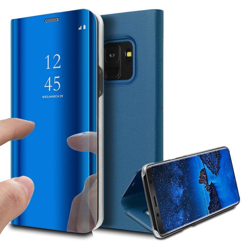 pour Samsung Galaxy Note 9 Clear View Etui à Rabat Cover Flip Case Housse Translucide Miroir Antichoc Bleu