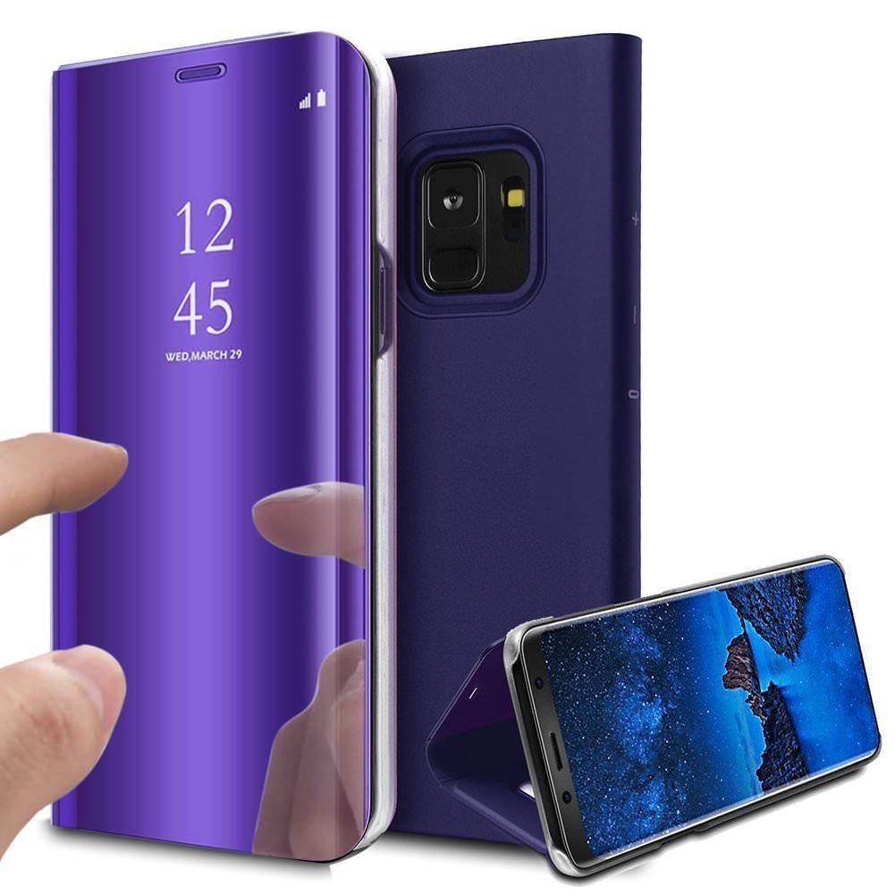 pour Samsung Galaxy Note 9 Clear View Etui à Rabat Cover Flip Case Housse Translucide Miroir Antichoc Violet