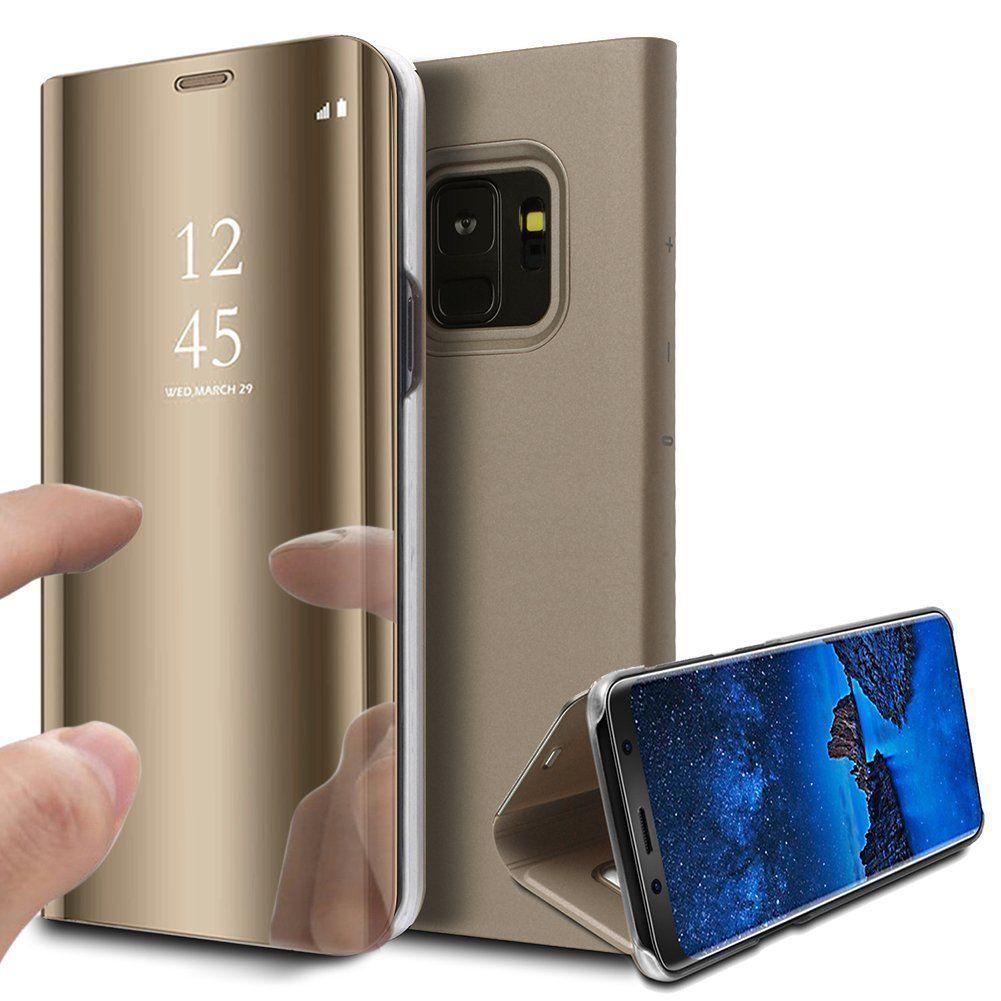 pour Samsung Galaxy S9 Clear View Etui à Rabat Cover Flip Case Housse Translucide Miroir Antichoc Or